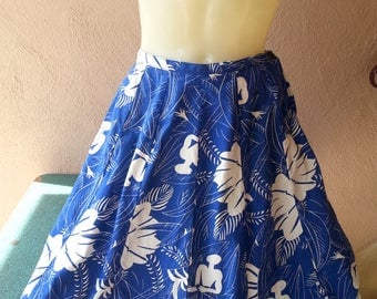 Cotton blue and white tropical African print skirt vintage 80s