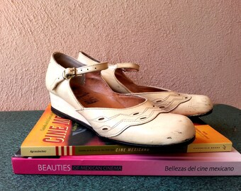 Rolandito size 8 off white mary jane wedge heel shoes vintage 80s 90s
