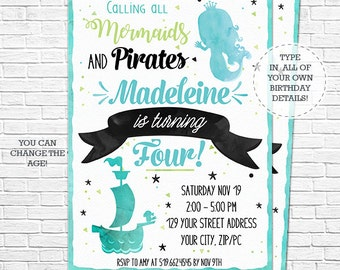 Mermaid & Pirate Party Invitation - Watercolor Mermaid and Pirate Birthday - Mermaid Invitation - Download and Personalize in Adobe Reader