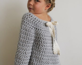 Crochet Pattern: The Lise Sweater 3/4, 5/6, 8/10, Adult Small, Medium, Large- chunky bow open back warm cozy