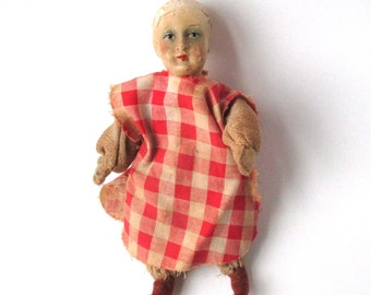 Antique Bisque Doll, doll house girl, poseable toy doll, 6 inch tall, plaid dress