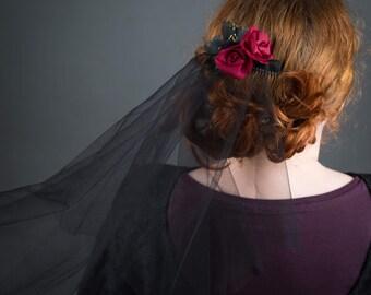 Black Wedding Veil with Silk Flowers - gothic wedding veil, floral veil