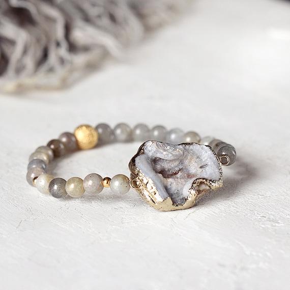 Grey Druzy Bracelet - Labradorite Bracelet