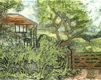Devon village hedgerow. Collagraph Homestead. Unique print