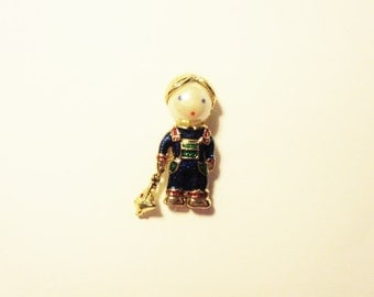 Vintage Figural Boy with a Boat Brooch/Pin/Boat Dangles