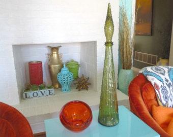 Vintage 1960s MID Century Modern Retro Art Glass Green Genie Bottle Stopper Decanter