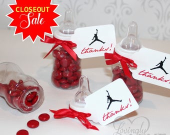 Baby Shower Favors - Plastic Baby Bottles - 12 Per Set - Red Basketball Sneaker Favors - Closeout Sale Original Price 15.99