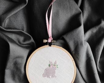 Floral Bunny Embroidery Pink Metallic Silk Nursery Art