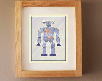 Nursery Art Print, Girls Room Art, Toy Robot, Baby Boy Nursery, Geek Art Sci-Fi, Robot Drawing for Kids, Nursery Wall Art, Boys Room Decor