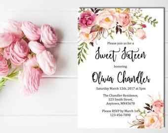 Boho Sweet Sixteen Printable Birthday Invite, Boho Sweet Sixteen 16 Birthday Invitation, Pink Floral 16th Birthday Invitation Download 502-W