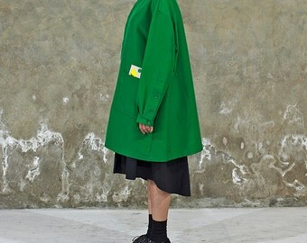 Green Oversized Jacket with concept badge for unisex - International Freeshipping