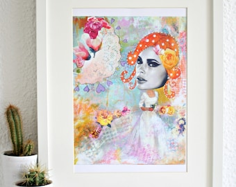 Pretty pastel art print with redheaded girl.