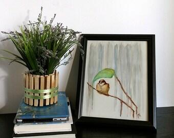 "Brown Bird Art - Rain Art Print - 8""x10"" Poster - Bird With Leaf - Rainy Day - Blue Nursery - Art & Collectibles - Babys Room - Home Decor"