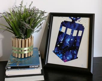 """Art Print 8""""x10"""" Exploding Tardis Doctor Who Melted Crayon art"""