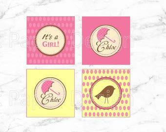 """DIY Printable """"A Little Birdie Told Me"""" Cupcake Toppers/Favor Tags 2"""" x 2"""""""