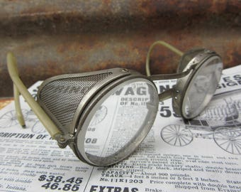 Vintage Industrial Safety Glasses With Side Shields Storage Steampunk Goggles Riding Glasses Steam Punk Steampunk Antique Safety Glasses