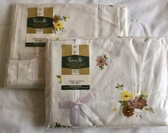 Vintage 1950s 60s Wamsutta Lustercale Twin Fitted Sheet Brown Yellow Flowers New Old Stock