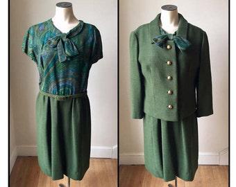 Vintage 1960s Misses' Green Blue Wool Suit Dress Jacket Medium 6 8 10