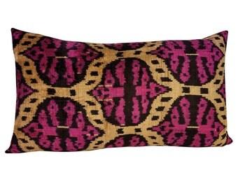 Silk Velvet Ikat Pillow Cover Lp323, Bohemian pillow, Velvet Ikat Pillow, Velvet Pillow