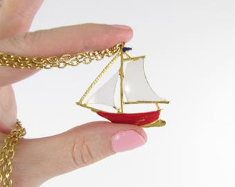 Sail Away Boat Pendant Necklace - Vintage Coro Nautical Sailboat Enamel Jewelry