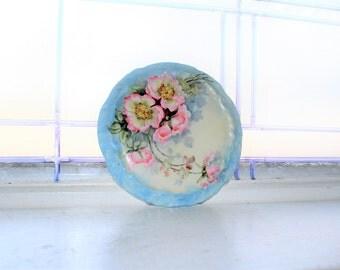 Vintage Porcelain Trivet Hand Painted Pink Flowers