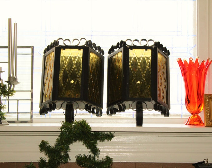 Vintage Spanish Revival Gothic Wall Light Sconces Pair 1950s