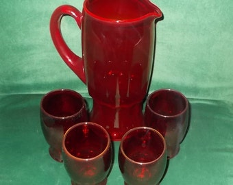 Ruby Red Glass Drinkware Set Pitcher & Four Tumblers Vintage Ruby Glass Pitcher and Glasses Set Lot of Five Pieces