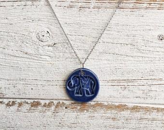 Ceramic Elephant Pendant, Royal Blue, Unique Gift, Zen, Ceramics, Boho, Gift Ideas, Holiday Gift, Elephants, Ceramic Jewelry, Unique Jewelry