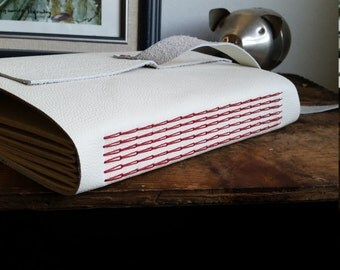 Large Candy Cane Leather Journal, White Hand-Bound 6 x 9 Journal by The Orange Windmill on Etsy 1740