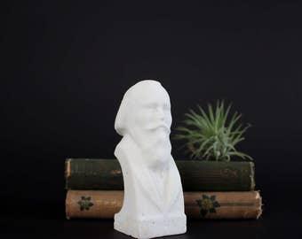 Vintage Brahms Salt Statue Figurine - German Composer Johannes Brahms Musical Master Bust - Hand Carved Rock Salt