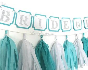 Aqua Blue & Silver Banner-aqua blue banner-silver banner-robins egg banner-bride to be-miss to mrs-bridal shower