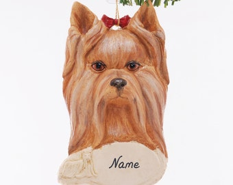 Yorkshire Terrier Dog Christmas Ornament, personalized with your favorite Yorkie's name hand made from resin by artist Melissa  (311)