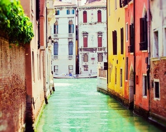Venice Photography, Italy Art, Venice Art Print, Travel Decor, Venice Canal, Large Wall Art, Italian Home Decor, Green, Colors, Water Photo