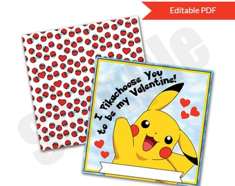 Pokemon Inspired Pikachu Valentines Day Cards Instant Download Printable Editable PDF File