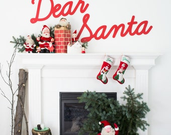 Christmas Mantel Decorations - Dear Santa Wood Christmas Signs - Christmas Santa Decor - Retro Style Wooden Christmas Sign