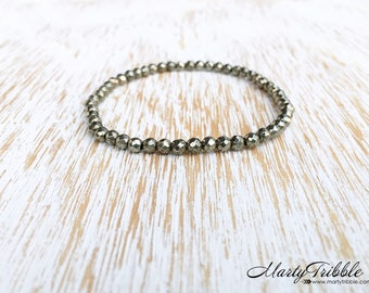 Faceted Pyrite Bracelet, Dainty Gemstone Bracelet, Petite Jewelry, Faceted Mineral Bracelet, Metallic Stone Bracelet, Accent Bracelet, Vegan