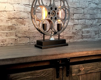 Accent Table Lamp Vintage Film Reel