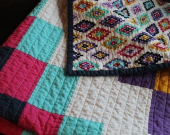 Modern Baby Quilt, Crib Quilt, baby blanket, Pink, Turquose, Navy, Mustard, Purple, Colorful tiles quilt