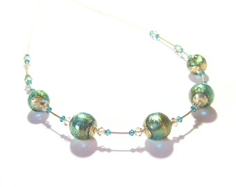 Murano Glass Aqua Gold Green Glass Ball Necklace, Italian Jewelry, Art Glass Illusion Necklace, 16 Inch Necklace, Gold Filled Necklace