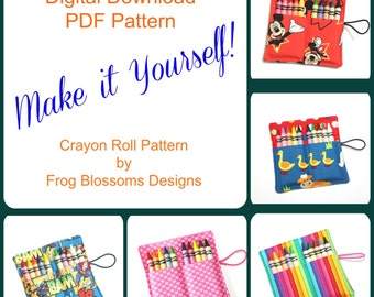 Crayon Roll PDF DIGITAL DOWNLOAD Pattern to make your own Party Favor Crayon Rolls -- crayon wraps sleeves holders cases