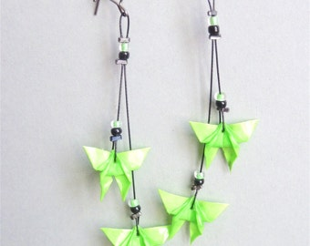 Neon Green 2 Butterflies Origami earrings