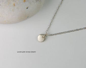 White Gold Nugget Necklace Gold Minimal Necklace Dainty Gold Necklace 14K Solid Gold Necklace White Gold Jewelry