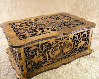 Tree of Life decorative scrollwork box