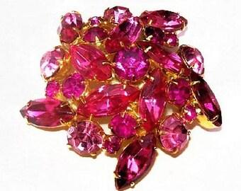 "Pink Rhinestone Cluster Brooch Pin High End Gold Metal 2"" Vintage Spring"