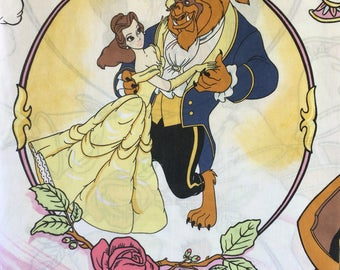 90s Beauty and the Beast Flat Sheet • Vintage Disney Sheets • Twin Bed Flat Sheet • Belle • Beast • Lumiere • Mrs. Potts • Disney Bed Sheets