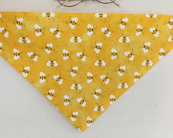 Yellow Bee Tie On Doggie Bandana