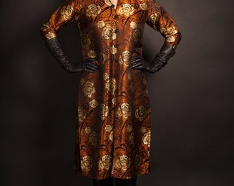 Ethnic Black Gold with Copper Tunic/ 1970's / Vintage