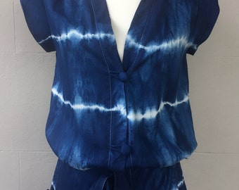 Indigo Shibori Hand-dyed Playsuit - totally unique one of a kind!
