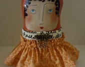 SALE,ooak,Folk Art Stump Doll,Primitive Art Doll,Mixed Media,Shelf Tuck,Folk Art Girl,FAAP,Home Decor,Whimsical,HAFAIR,Artful Zeal