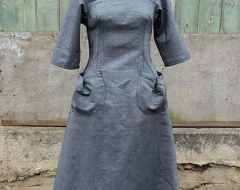 Size 12 Herringbone Denim Pocket Dress